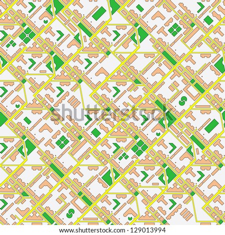Abstract schematic map of the city - seamless background - stock photo