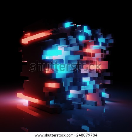 Abstract sci-fi architecture background - 3D render - stock photo