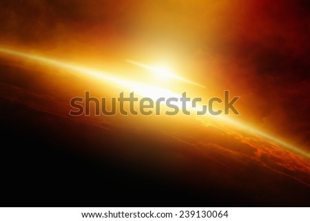 Abstract sci-fi background - huge nuclear explosion in atmosphere of planet Earth - stock photo