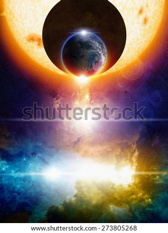 Abstract sci-fi background, planet Earth in space, dark aliens planet approaching Earth, big glowing sun, nebula and bright stars in deep space. Elements of this image furnished by NASA nasa.gov - stock photo