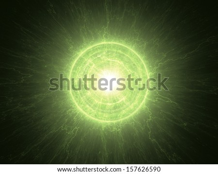 Abstract science background - radioactive core - stock photo