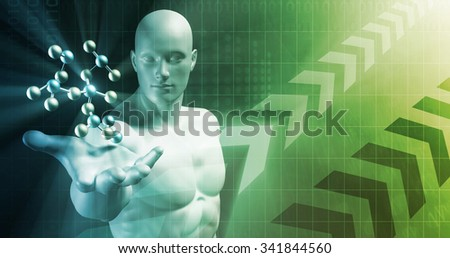 Abstract Science Background with Atomic Research Template - stock photo