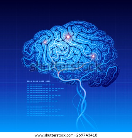 Abstract science background with brain. . RGB. Organized by layers. Global colors. Gradients used. - stock photo