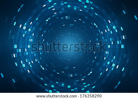 Abstract science fiction futuristic background vision of super collider particle accelerator.