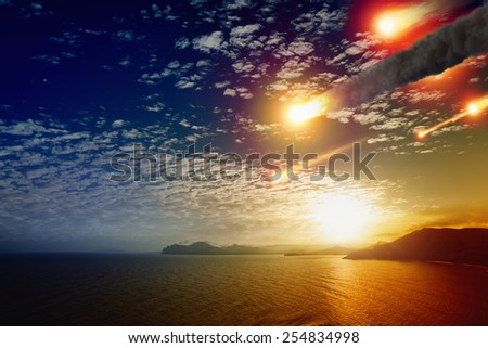 Abstract scientific background - asteroid impact, glowing sunset above mountains and sea.Elements of this image furnished by NASA nasa.gov - stock photo