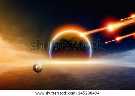 Abstract scientific background - asteroid impact planet Earth. Elements of this image furnished by NASA - stock photo