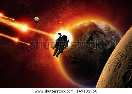 Abstract scientific background - asteroid impact planet Earth, planet Mars in space, astronaut in open space, mission to Mars. Elements of this image furnished by NASA/JPL-Caltech - stock photo