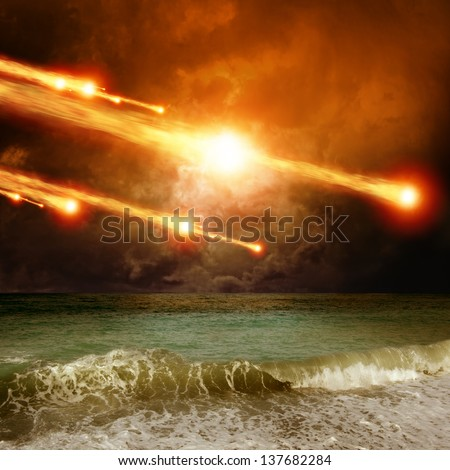 Abstract scientific background - asteroid, meteorite impact, stormy sea, ocean - stock photo