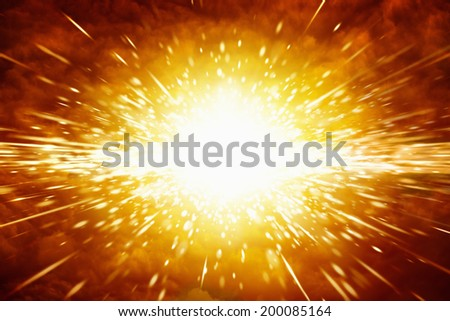Abstract scientific background - big red explosion in space - stock photo
