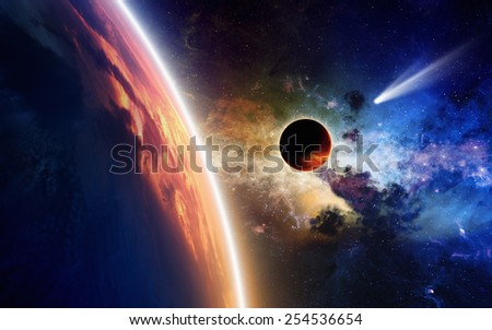 Abstract scientific background - comet approaches glowing planet, nebula and stars in space. Elements of this image furnished by NASA nasa.gov - stock photo