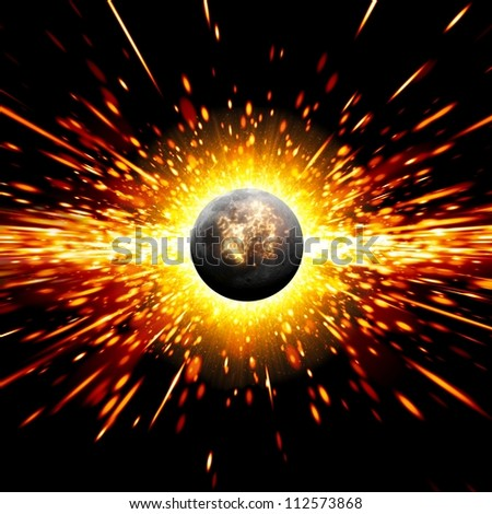 Abstract scientific background - exploding of planet in space