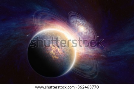 Abstract scientific background - glowing aliens planet in deep space, spiral galaxy. Elements of this image furnished by NASA nasa.gov - stock photo