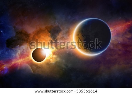 Abstract scientific background - glowing planet Earth in space, solar eclipse, nebula and stars. Elements of this image furnished by NASA nasa.gov - stock photo