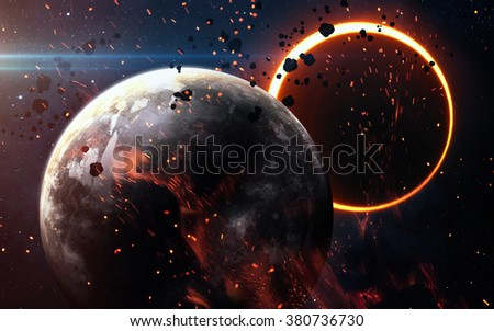 Abstract scientific background - glowing planet Earth in space, solar eclipse, nebula and stars. Elements of this image furnished by NASA  - stock photo