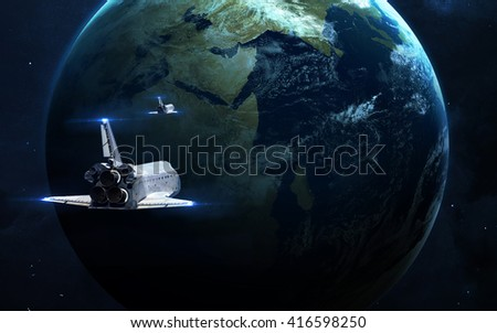 Abstract scientific background - glowing planet in space, nebula and stars. Elements of this image furnished by NASA  - stock photo