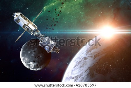Abstract scientific background - glowing planet in space, nebula and stars. Elements of this image furnished by NASA