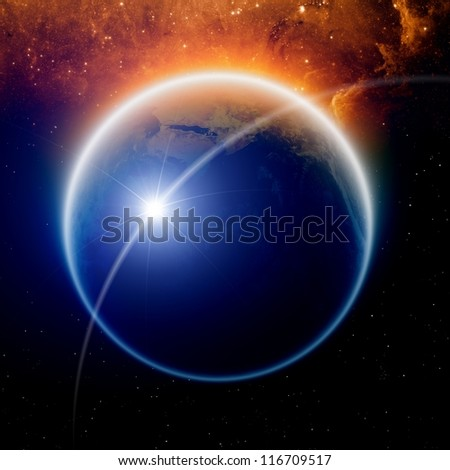 Abstract scientific background - planet Earth in space with stars. Elements of this image furnished by NASA