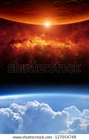 Abstract scientific background - planet earth red aliens planet, red galaxy. Elements of this image furnished by NASA/JPL-Caltech - stock photo