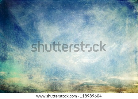 Abstract scratchy grunge retro sky. Please check portfolio for other similar images. - stock photo