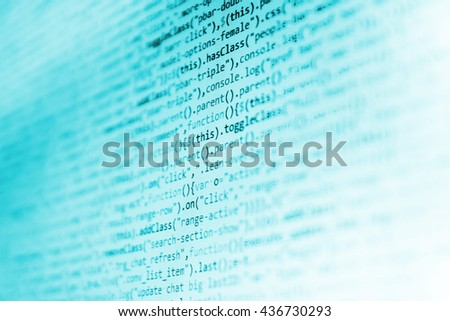 Abstract screen of software.  Programming code abstract screen of software developer. Programmer workplace. Website development. Programming code.