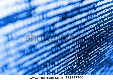 Abstract screen of software. Programming code. Programmer occupation. Monitor photo. Technology background. (Code is my own property there is no risk of copyright violations)  - stock photo