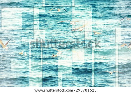 abstract sea geometric background with many seagulls and water waves, filter colored
