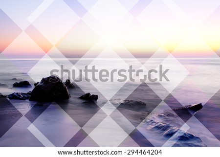 abstract sea geometric background with rocks and water waves, sunrise time , filter colored
