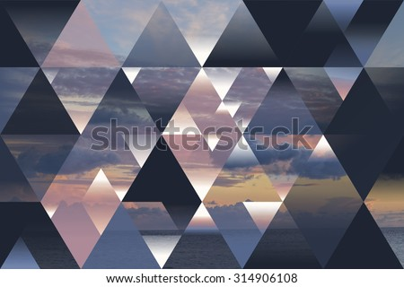 abstract sea geometric background with triangles and cumulus clouds; polygonal cloudscape backdrop; water, evening, sunset, op art  - stock photo