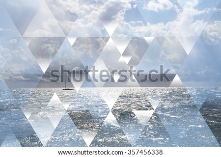Abstract sea geometric background with triangles, water waves, cumulus clouds and boat. Op art. Reality is an illusion - stock photo