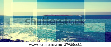 abstract sea geometric background with water waves, sunrise time , filter colored