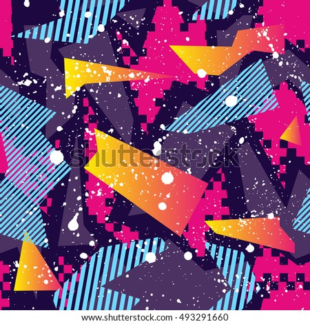 Abstract seamless background pattern with geometric elements for girl and boy textiles or wallpaper.