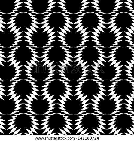 Abstract seamless black and white inverted pattern with loops of barbed wire. Easy to change the colors. - stock photo