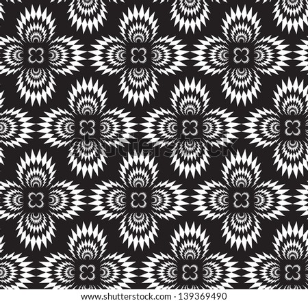 Abstract seamless black and white inverted thorny pattern with stylized cross explosions - stock photo