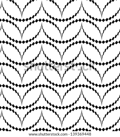 Abstract seamless black and white inverted with thorny semicircles - stock photo