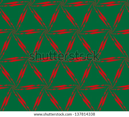 Abstract seamless black and white lattice pattern, made of diminishing and curl chain of red quadrangles on green background. - stock photo