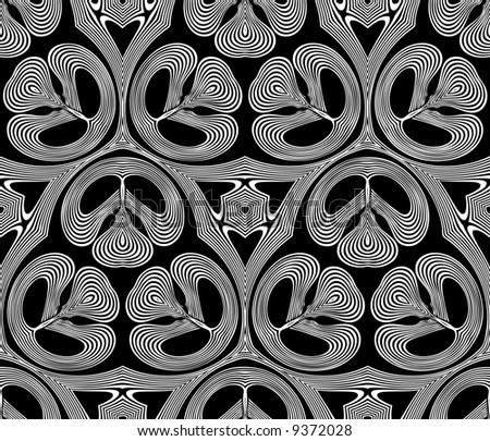Abstract seamless black-and-white pattern - graphic illustration