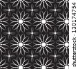 Abstract seamless black and white pattern with bloom-like - stock photo