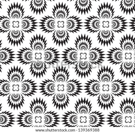 Abstract seamless black and white thorny pattern with stylized cross explosions - stock photo