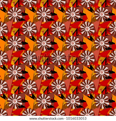 Abstract seamless bright background from picturesque stylized orange, black and brown flowers. Fabric for summer tropical holiday. Lovely seamless pattern. Background with flowers.