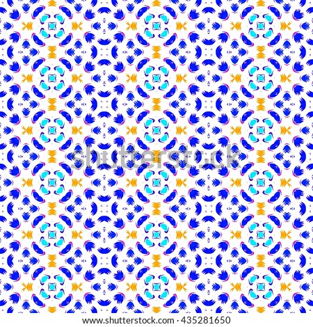 Abstract seamless colorful blue orange white floral kaleidoscopic fashion able pattern  - stock photo