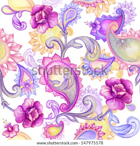 abstract seamless floral and paisley pattern, watercolor drawing - stock photo