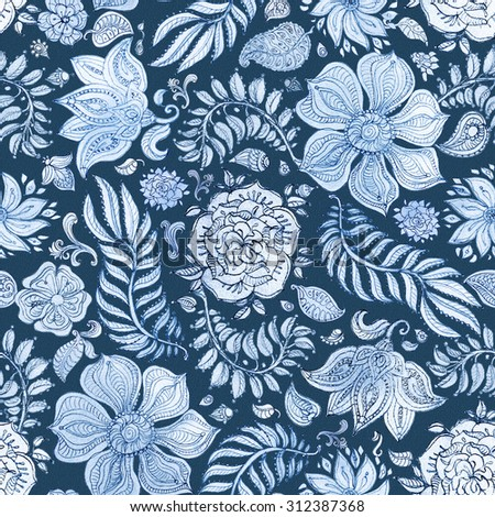 Abstract seamless floral pattern of light blue colored hand drawn by pencil outline fantasy leaves, flowers and curly branches on a dark indigo blue background.  - stock photo
