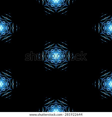 Abstract seamless frozen snowflakes in winter texture or background - stock photo