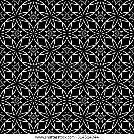 Abstract Seamless geometric floral pattern on black background. Symmetrically repeating pattern. Illustration - stock photo