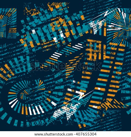 Abstract seamless geometric pattern for boys. Grunge urban  background with abstract shape elements, lightnings in orange, blue and white colors. Strong urban wallpaper. - stock photo