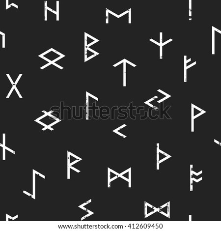 Abstract seamless grunge pattern of Elder Futhark runes on black background. Design element for background, textile, paper packaging, wrapping paper and other. Raster copy of vector file. - stock photo
