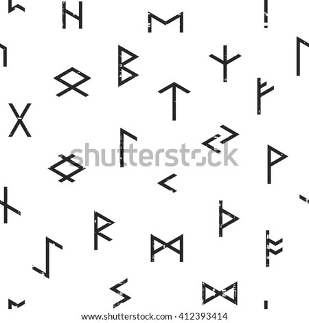 Abstract seamless grunge pattern of Elder Futhark runes on white background. Design element for background, textile, paper packaging, wrapping paper and other. Raster copy of vector file. - stock photo