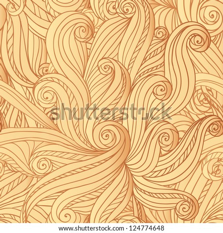 Abstract  seamless hand-drawn hair or waves pattern. Vector version also exist. - stock photo