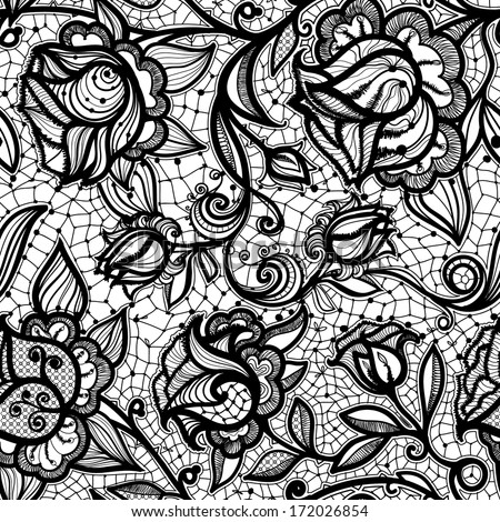 Abstract seamless lace pattern with flowers and leaves. Infinitely wallpaper, decoration for your design, lingerie and jewelry. Your invitation cards, wallpaper, and more. - stock photo