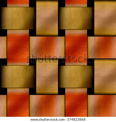 Abstract seamless metal pattern with brushed gold and red copper plates on a black background - stock photo